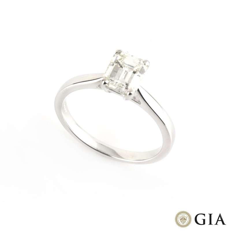 18k White Gold Emerald Cut Diamond Ring 0.67ct F/VVS1